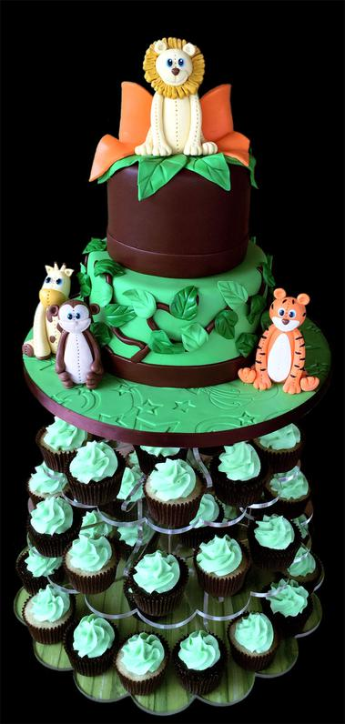Little Jungle Animals Birthday Cake & Cupcake Tower
