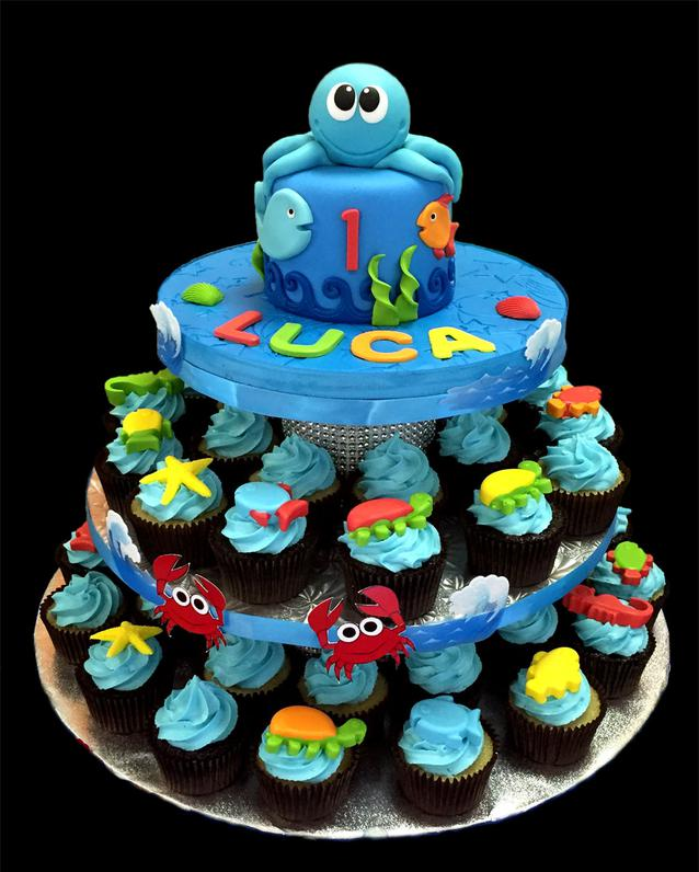 Little Octopus Birthday Cake & Cupcakes