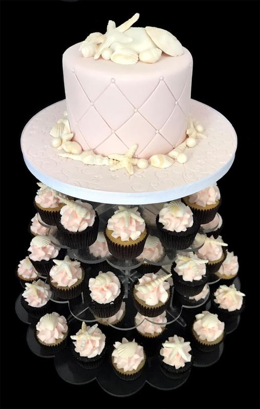 SeaShell Fondant Cake & Cupcake Tower
