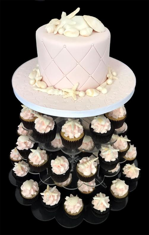 SeaShell Wedding Cake Cupcake Tower