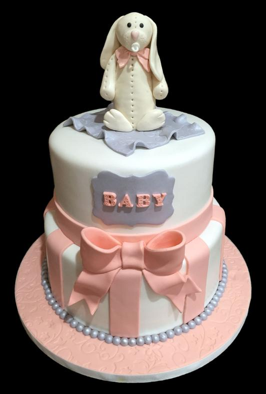 Floppy Bunny Baby Shower Cake