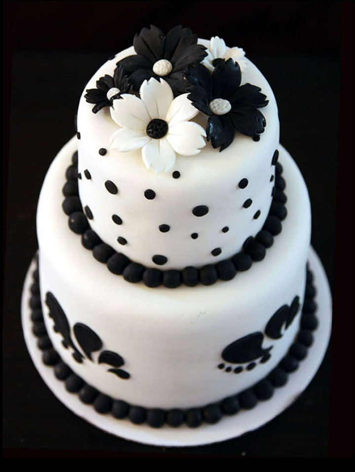 Black & White Theme Bridal Shower Cake
