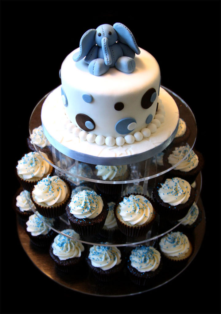 Custom Baby Shower Cake with Cupcake Tower
