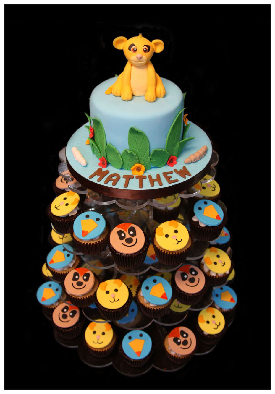 Baby Jungle Animal Custom Birthday Cake with Cupcakes