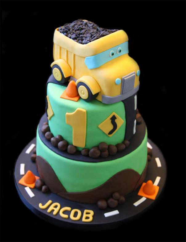 Yellow Dump Truck Birthday Cake
