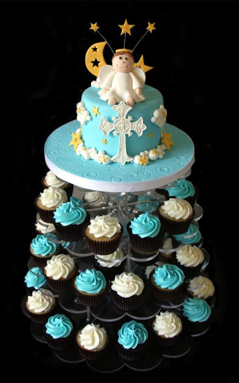 Custom Christening Cake with Cupcake Tower