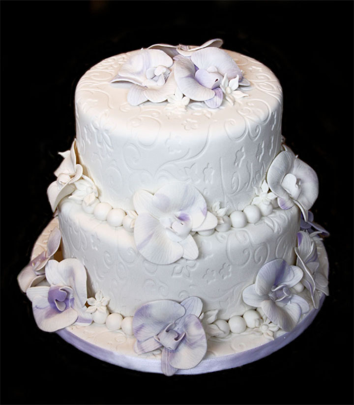 Orchids & Pearls Wedding Cake