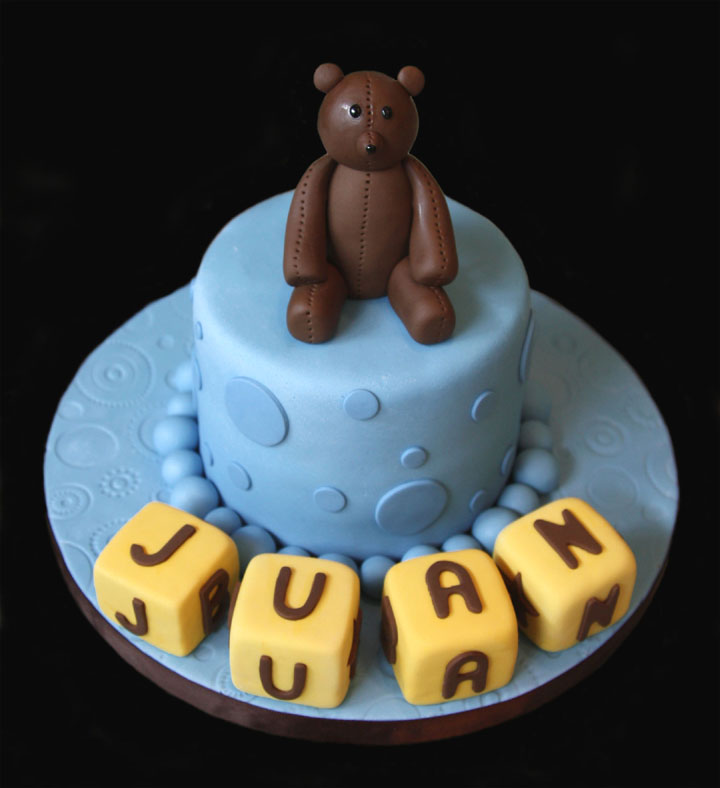 Teddy Bear Building Blocks Baby Shower Cake