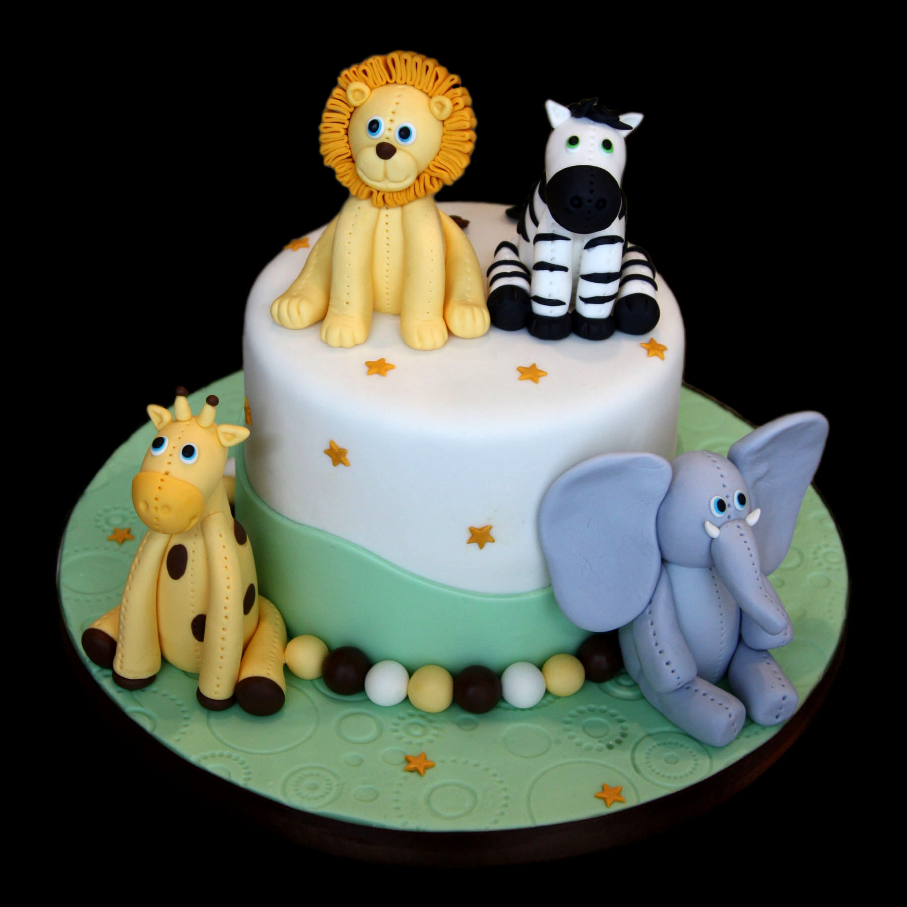 Baby Animals Custom Fondant Cake