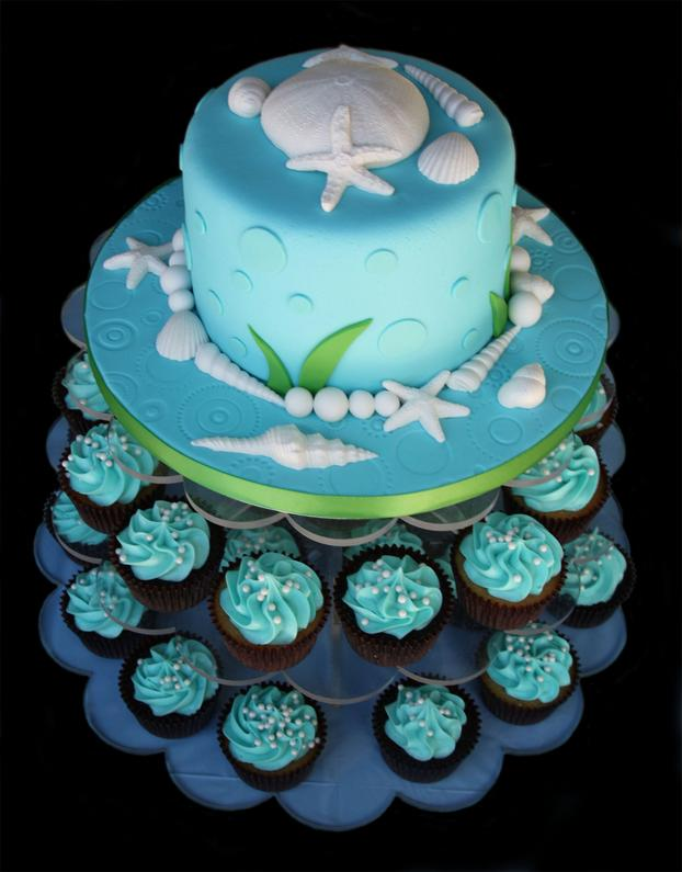 SeaShell Cake & Cupcake Tower