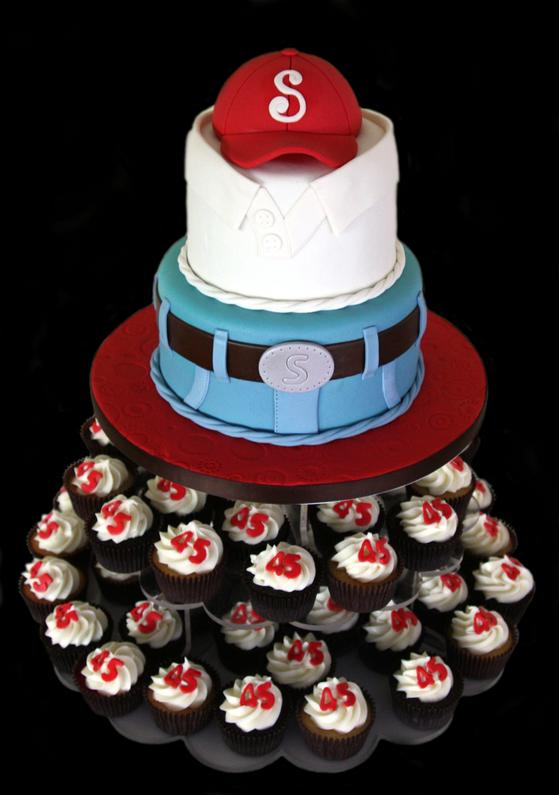 Custom Decorated Fondant Birthday Cake with Cap and Cupcakes