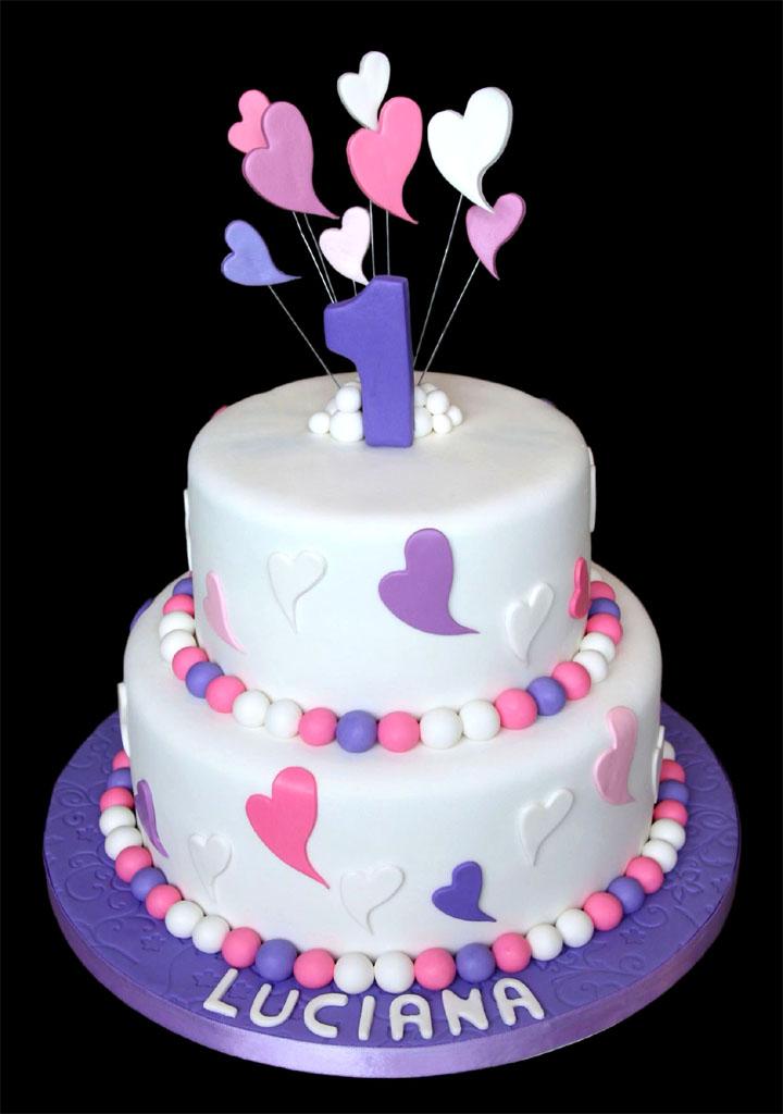 Pretty Hearts Birthday Cake