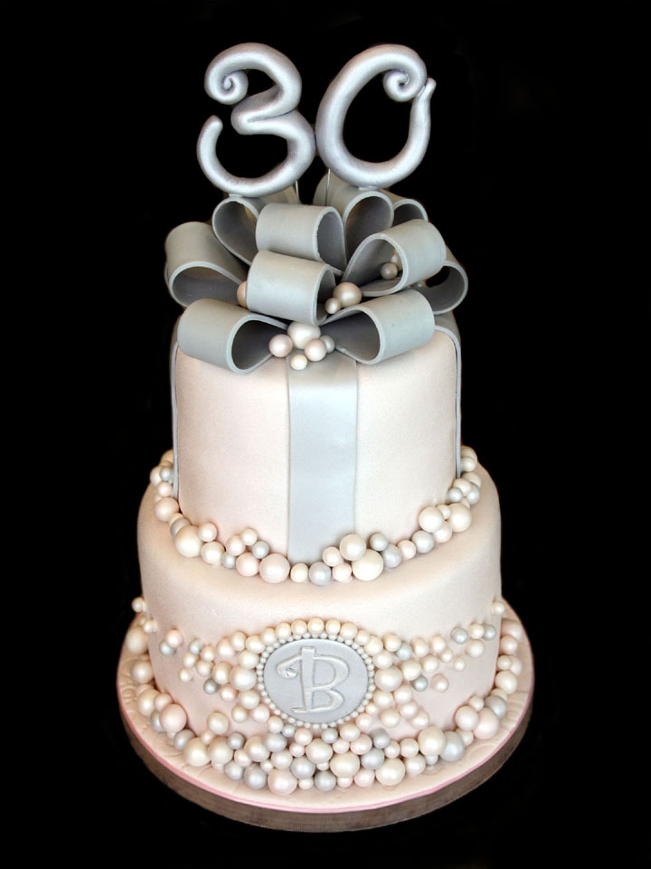 Pearls & Silver Birthday Cake