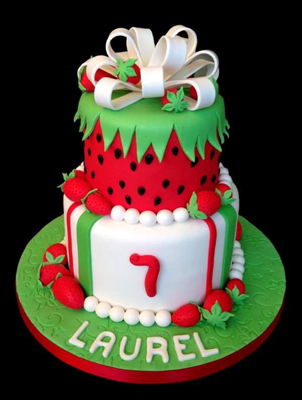 Strawberry Decorated Custom Birthday Cake