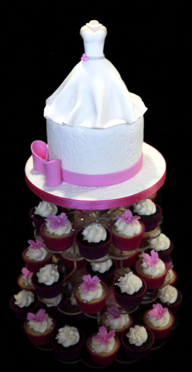 Wedding Gown Bridal Shower Cake & Cupcake Tower