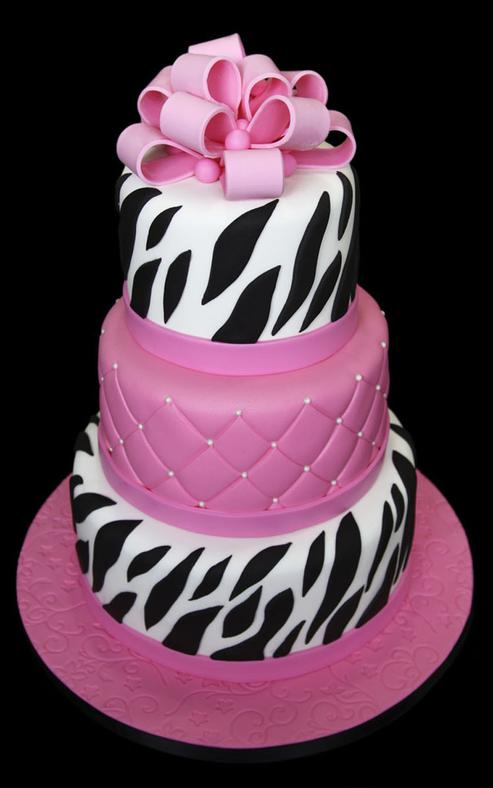 Hot Pink & Zebra Stripe Bridal Shower Cake