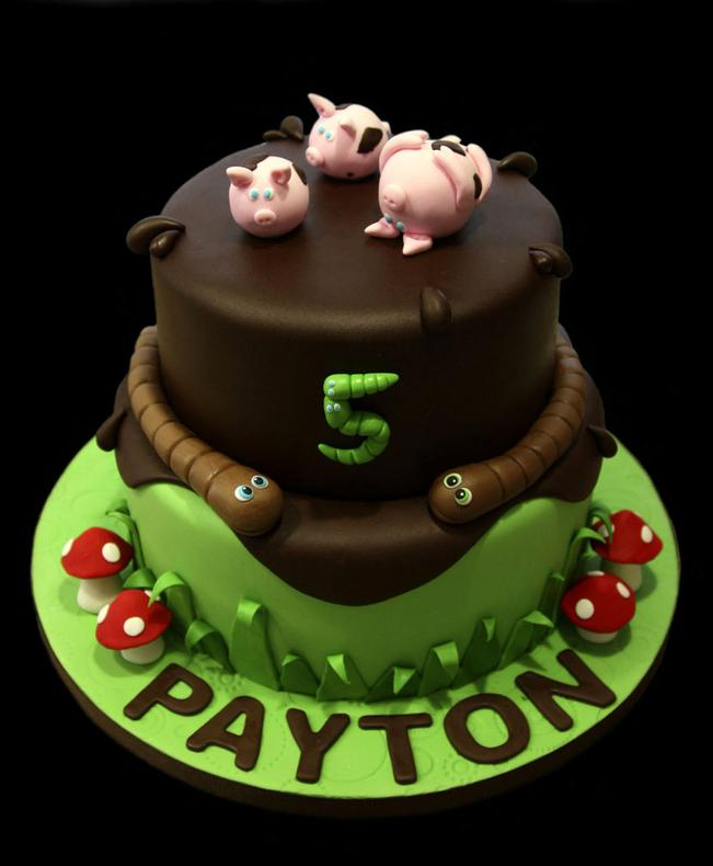 Pigs in a Puddle Birthday Cake