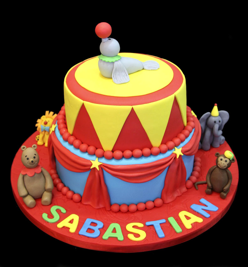 Baby Circus Custom Decorated Fondant Cake