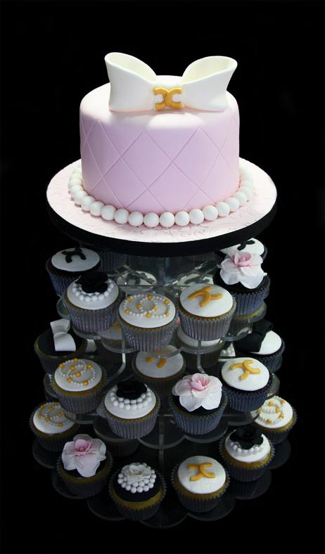 Coco Chanel Bridal Shower Cake & Cupcake Tower