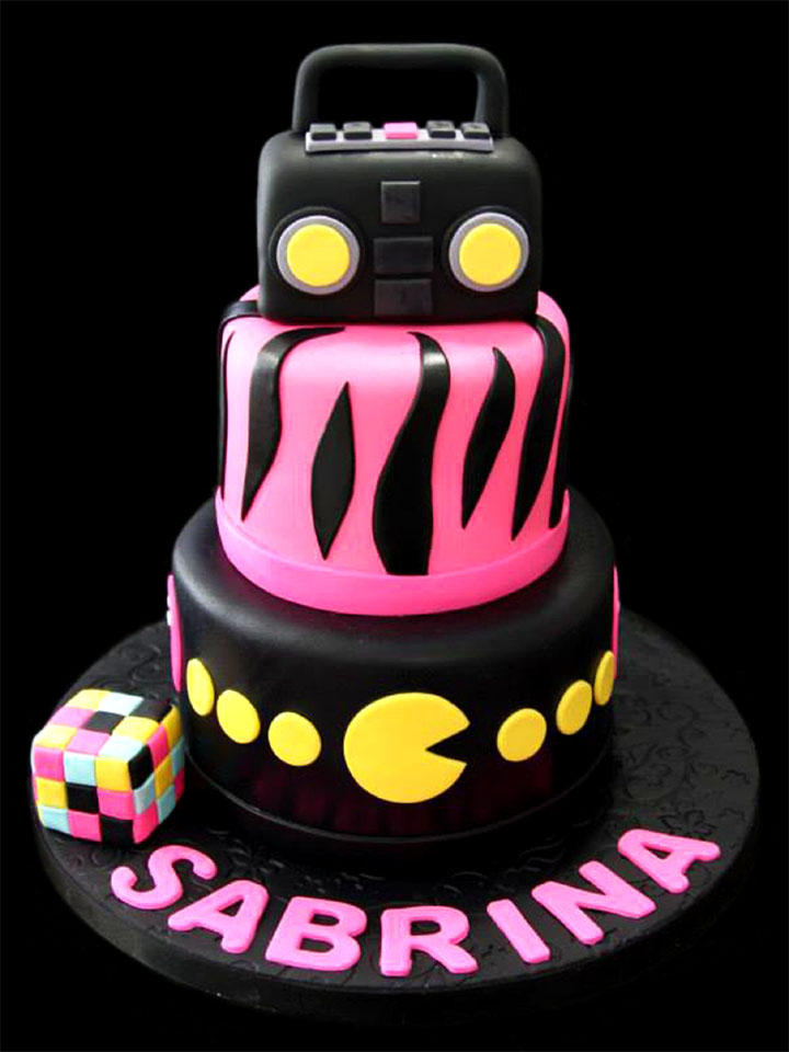 Hot Pink Zebra Stripes Birthday Cake