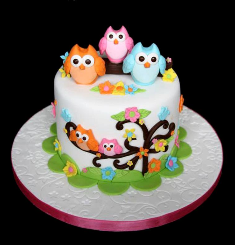 Cute Owls Baby Shower Cake