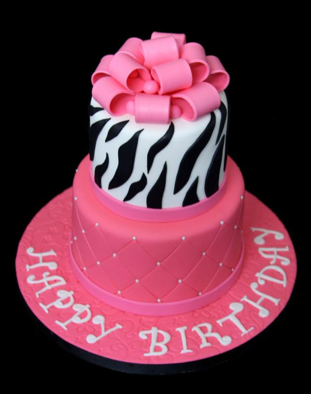 Pink Zebra Stripe Birthday Cake