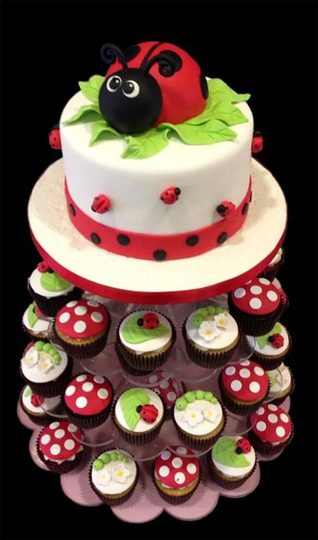 Lady Bug Cake & Cupcake Tower