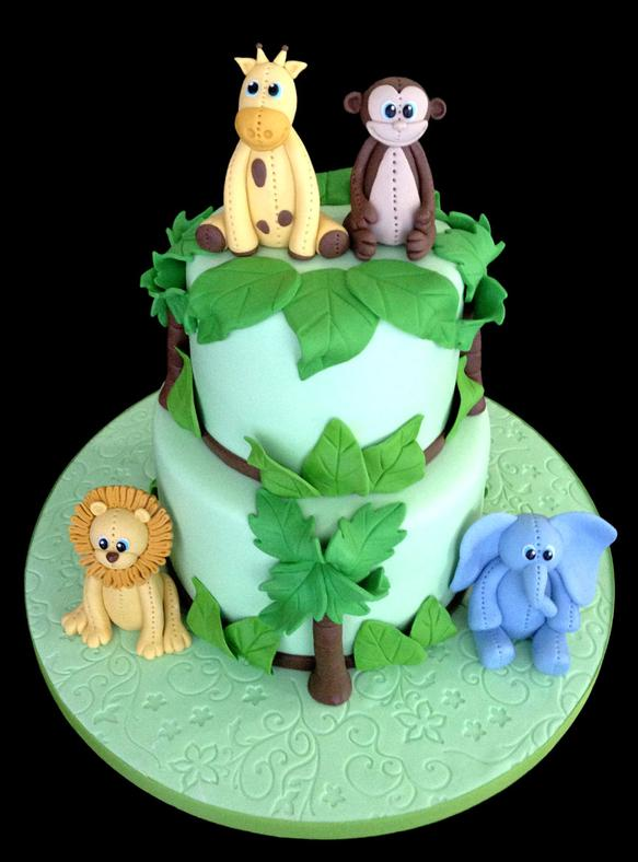 Little Jungle Animals Baby Shower Cake