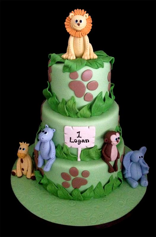 Little Jungle Animals Custom Birthday Cake
