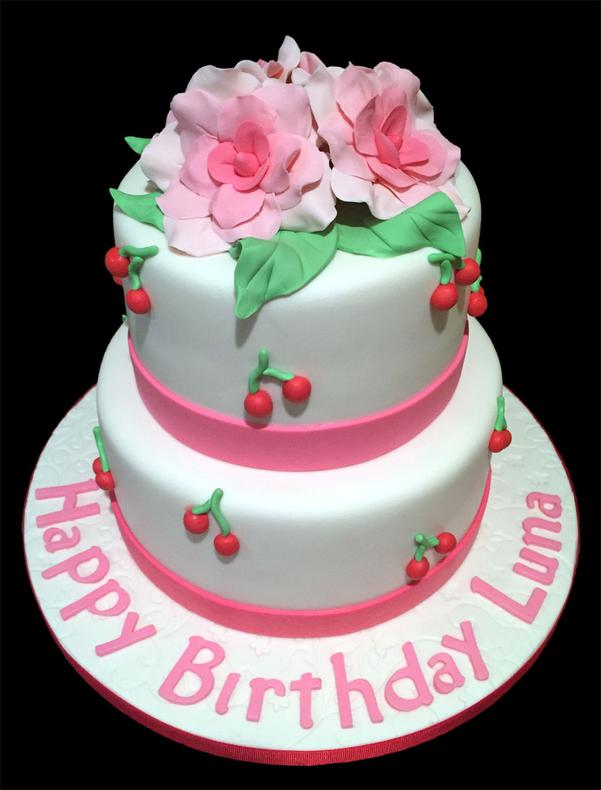 Pink Blossoms Birthday Cake