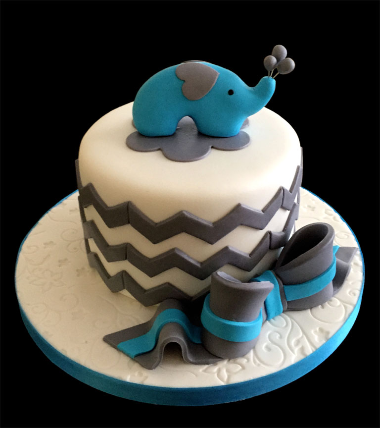 Baby Shower Cake with Little Blue Elephant