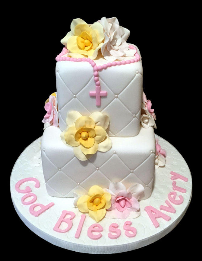 2 Tier Christening Cake with Pink and Gold