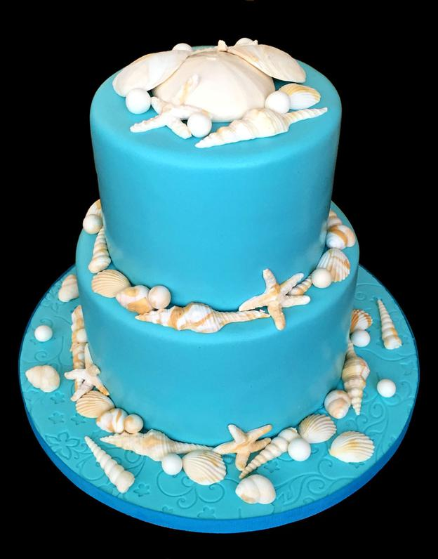 Pretty Sea-Blue Sea-Shell Custom Cake