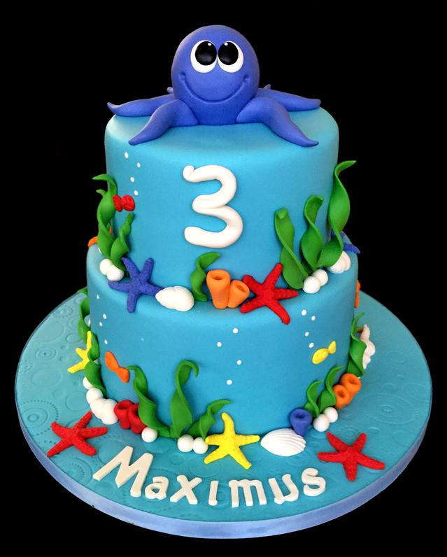 """Under the Sea"" Custom Birthday Cake with Baby Octopus"