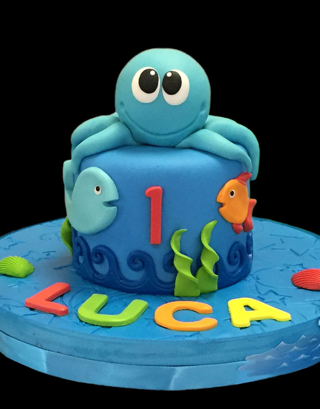 """Under the Sea"" Baby Octopus Smash Cake"