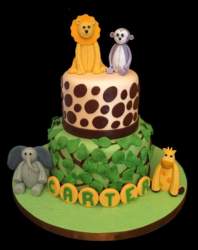Little Jungle Animals Birthday Cake