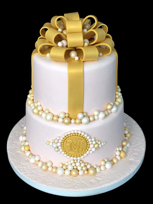 Gold & Pearls Bridal Cake