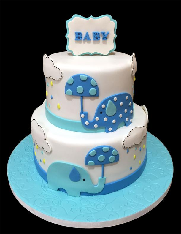 Little Elephants Baby Shower Cake