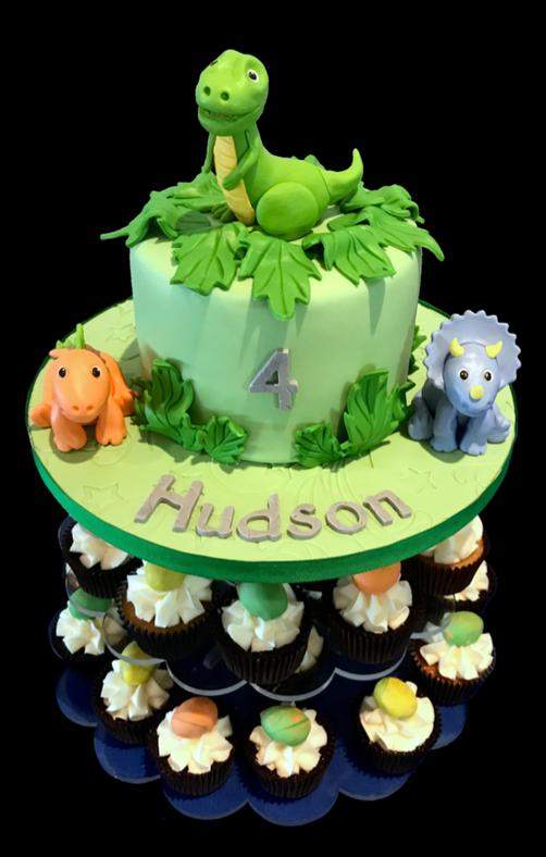 Little Dinosaur Birthday Cake & Cupcakes