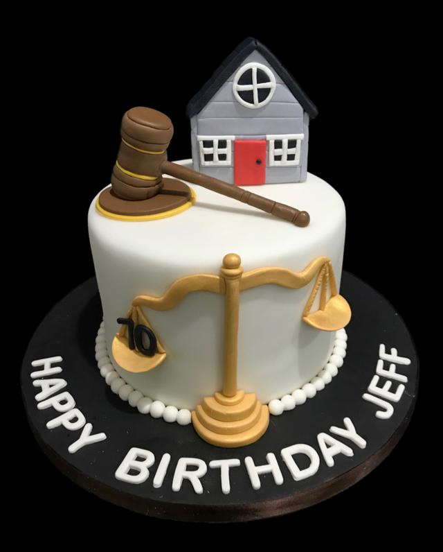 Judge Lawyer Courthouse Fondant Cake