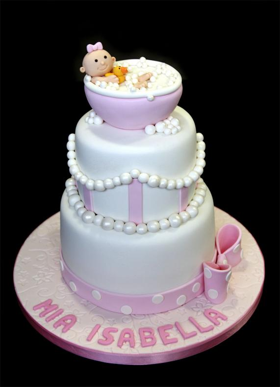 Cute Pink & Pearls Custom Baby Shower Cake
