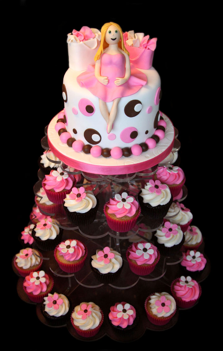 Pretty Pink Baby Shower Cake with Cupcake Tower