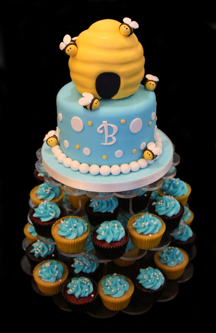 """What Will it Bee"" Beehive Baby Shower Cake"