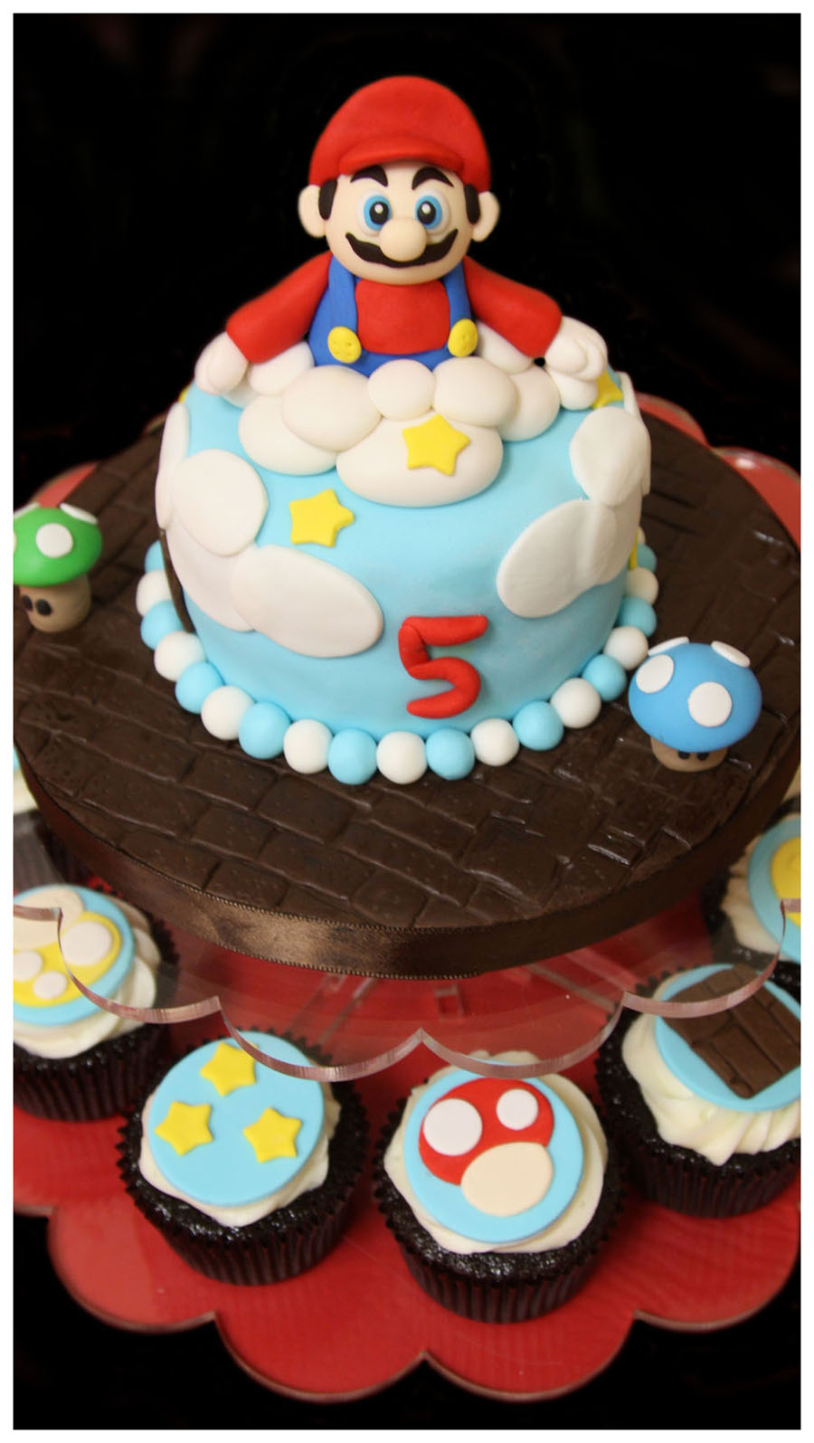 Mario Theme Birthday Cake & Custom Decorated Cupcakes