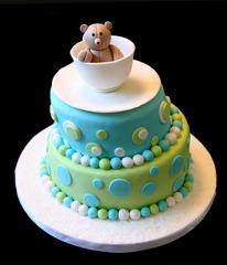 Teddy Bear Tea Cup Baby Shower Cake