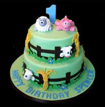 Baby Farm-Yard Animals Birthday Cake