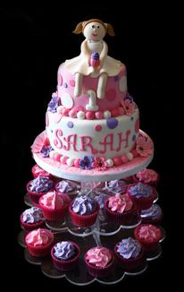 Cute Little Girl Birthday Cake & Cupcakes