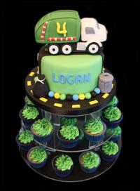 Dump-Truck Birthday Cakes and Cupcakes