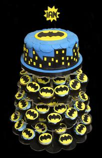 Batman Birthday Cake and Cupcake Tower