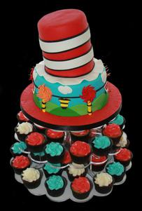 Cat in the Hat Custom Decorated Cake and Cupcakes